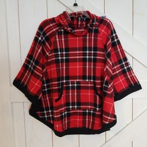 {Cuddl Duds} red & black fleece poncho (S)